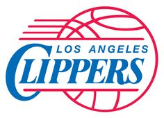 Los Angeles Clippers Primary Logo (1985) - Clippers in blue italics inside a red basketball