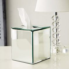 Mirror Tissue Box Cover Clear, by The White Company