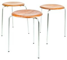 Set of 3 DOT stools in teak and metal by Arne JACOBSEN from the 50s.Made in Denmark by Fritz Hansen. Brand Present.Teak seating with 3 chromed legs. Good condition, original with patina, normal wear, no damages. Price for the set.
