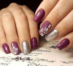 Christmas nails, Ideas of winter nails, January nails, Snowflake nail art, Snowflakes on nails, Winter gel polish for nails, Winter nail art, Winter nails 2018
