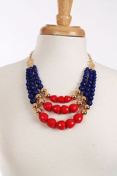 Triple Beaded Necklace, Red $21.00
