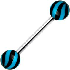 Blue Black Beach Ball Wave Barbell Tongue Ring $3.99 #tonguering #bodymodification #piercing