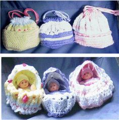 Free Online Doll Patterns | Dolls - Cradle Purses by MissDeal | Crocheting Ideas