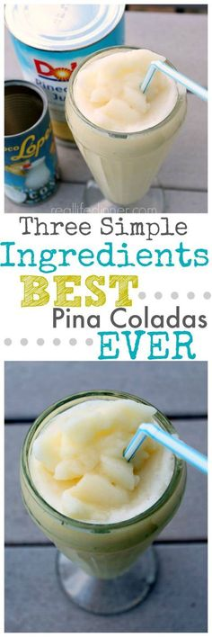 Happiness in a glass. These Pina Coladas {non-alcoholic} have three simple ingredients and every time I make them people practically kiss my feet, beg for seconds and ask for the recipe. So good! ~ http://reallifedinner.com