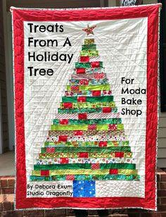 Treats from a Holiday Tree Quilt.  Free pattern on Moda's Bake Shop.  By Debora Exum.  @modafabrics
