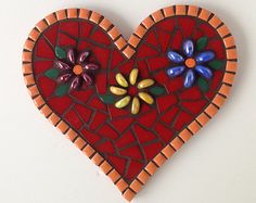 Heart and Flower Mosaic, mosaic heart decor, heart mosaic in red and orange