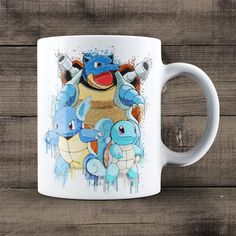 Blastoise Wartortle Blastoise Coffee Mug, Pokemon Mug, Pokemon Evolutions Mug, Anime Mug, Geek Birthday or Christmas Gift Idea