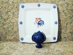 #piatto quadrato con decorazione #gallo tipica #pugliese, dalle forme moderne  #pumo