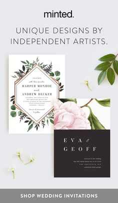 Wow your guests with unique wedding designs from our NEW 2018 invitation collection, created by independent artists. First time customers: enjoy 20% off all wedding orders.