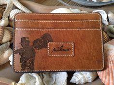 Vintage Guitarist Leather Wallet Credit Card Holder by HarrismaLeatherGoods, $33.00