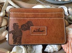 Vintage Guitarist Leather Wallet Credit Card Holder by HarrismaLeatherGoods, $33.00