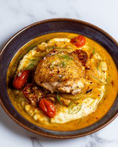 This roast chicken and fennel with mashed potatoes is a dinner hero, perfect for nights where you don't want to cook but don't want to get takeout either. The post Roast Chicken and Fennel with Mashed Potatoes appeared first on Tried & True Recipes. Healthy Gourmet, Gourmet Dinner Recipes, Healthy Meat Recipes, Roast Chicken Recipes For Dinner, Gourmet Meals, Juicy Grilled Chicken Recipe, Gourmet Chicken, Chicken Fennel Recipe, Roasted Chicken