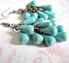 Turquoise ckuster earrings, by romanticcrafts, $13.00