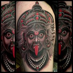 Kali done on …. Looking forward to get back to (at SFO - San Francisco International Airport - Terminal Kali Tattoo, Tattoo You, Hindu Tattoos, God Tattoos, Tatoos, Kings Avenue, Kali Ma, Kali Goddess, Skin Art