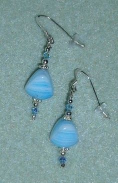 925 Sterling Silver Light Blue and White Beaded by dsmenagerie