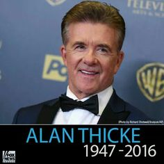 """Alan Thicke ( born Alan Willis Jeffrey) was an actor, composer,television host.He was best known for his role as Jason Seaver, the father on the ABC TV series """"Growing Pains"""". The show ran for seven seasons.He was the father of singer Robin Thicke.He was married three times: His first wife was Gloria Loring, the actress from """"Days of Our LIves""""  Thicke died of of a heart attack after he collapsed while playing hockey with his son."""