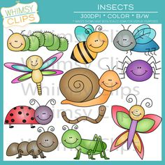 $ 11 cute insects. All clip art from Whimsy Clips is high-res 300dpi and comes with both color and black & white.