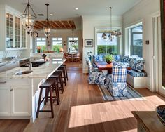 love everything about this kitchen!  especially the eating area!