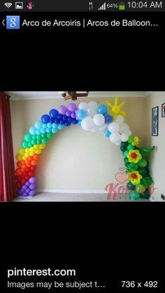 радужная арка с цветами