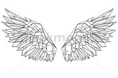 Geometric Tattoo Design, Geometric Drawing, Geometric Shapes, Art Sketches, Art Drawings, Wings Drawing, Polygon Art, Free Vector Art, String Art