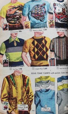 "1952 Men's Knit Shirts A high round rib collar matched a wide rib band that was worn outside of trousers, and around the waist. A narrow rib sleeve band was also common although the new ""T Shirt"" variety had a simple stitched sleeve and an open waist"
