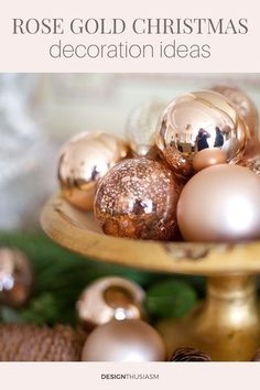If you're looking to create an enchanting holiday, try using rose gold Christmas decorations to add a touch of warmth and magic to your holiday home. ----- #christmasdecorideas #christmasdecorations #holidaydecor #rosegoldchristmasdecorations #rosegoldornaments #designthusiasm