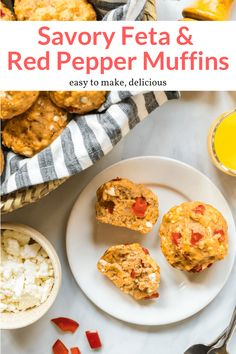 These amazing savory muffins are bursting with flavor from a combination of feta cheese, red peppers, garlic, and herbs. A great with pasta, salads, soup, or as a snack.