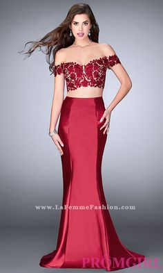 Two-piece long off-the-shoulder designer prom dress. Style: LF-24413