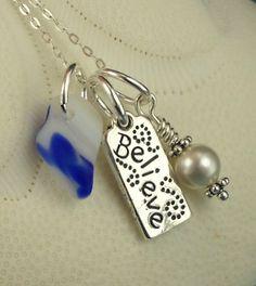 Santa Cruz Sea Glass Necklace Blue With by seaglassgems4you