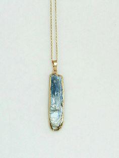 Blue Kyanite necklace - blue Kyanite pendant - Kyanite bar charm - Rustic…