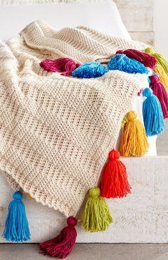 Caron Color: Crochet Tasseled Throw - a crochet afghan inspiration!