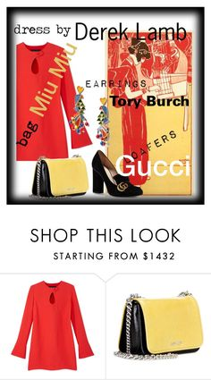 """Dress by Derek Lamb"" by morag667 ❤ liked on Polyvore featuring Derek Lam, Miu Miu, Gucci and Tory Burch"