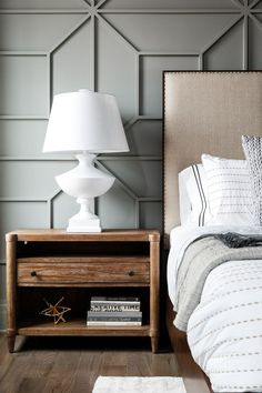Love How This White Lamp Stands Out Against The Grey Panelling   Wonderful  Design By Leslie Cotter