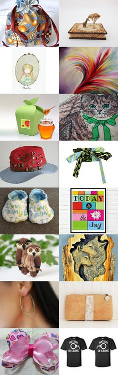 The Many Sides of You by Wanda on Etsy--#etsy #treasury #gift #bag #giftwrap #cat #hat #feather Pinned with TreasuryPin.com