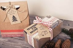 Christmas present box and labels