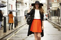 What better than a fluffy knit and a felt hat to cosy up in the classic London weather.