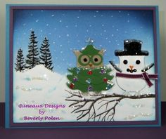 Stampin' Up!  Owl Punch  Beverly Polen  Christmas Tree and Snowman by lucia