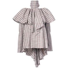 Rosie Assoulin checkered ruffled blouse (£1,575) ❤ liked on Polyvore featuring tops, blouses, white, checked blouse, white ruffle blouse, flutter-sleeve top, white frilly blouse and checkered top