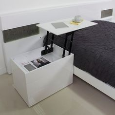 Bedside table with storage lift top nightstand side table furniture sofa side table nightstand laptop table Tv Furniture, Furniture Design, Laptop Table, Breakfast In Bed, Breakfast Ideas, Hidden Storage, Space Saving, Small Spaces, Bedroom Decor
