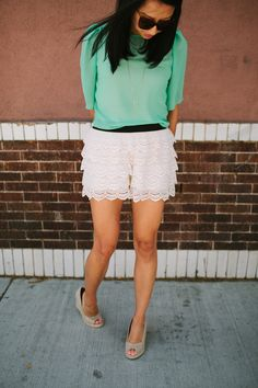 Teal + Lace Shorts //