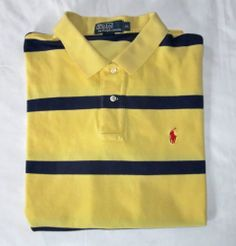 Ralph Lauren Yellow Blue Striped Mens Polo Golf Shirt Cotton XL