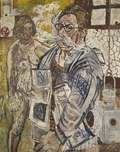 John Bratby - The Artist smoking with his wife,...