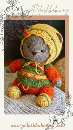 Knitted Cozy Teddy Bear Clothes pattern for teddy bear toy by Polushkabunny