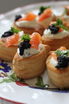salmon vol-au-vents . pastries with smoked salmon