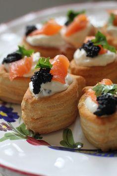 salmon vol-au-vents  . pastries with smoked salmon