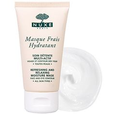 Nuxe Masque Frais Hydratant Refreshing and Relaxing Mask 1.7 oz. by Nuxe. $31.00. Ideal for all skin types. Licorice extract prevents irritation. Provides immediate comfort with long-lasting results. Leaves skin soft, smooth and radiant. Moisturizes the face and eye contours. This deliciously relaxing moisture bath for face and eye contour provides immediate and long-lasting refreshing moisture thanks to the combined action of a soothing botanical complex. Wat...