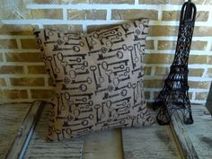 Burlap Vintage Key Pillow by SimplyFrenchMarket on Etsy, $30.00