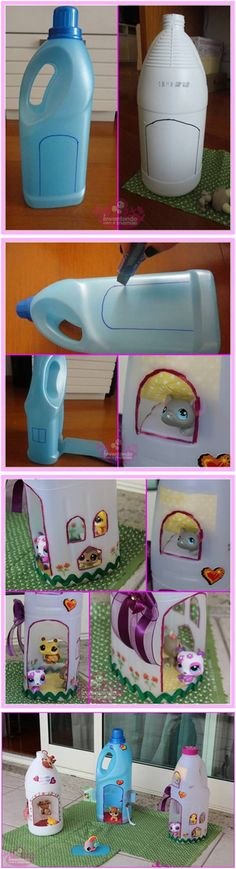How to DIY Adorable Doll Houses from Plastic Bottles #craft #recycle #dollhouse #kids