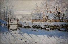 The Magpie, Claude Monet.  Info on LInes and Colors: http://linesandcolors.com/2014/01/06/eye-candy-for-today-monets-magpie/