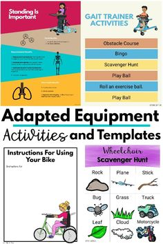 Hard to find templates and activities for adapted equipment.   Use ready made handouts or create your own individualized ideas using the templates.  Get these now! Gross Motor Activities, Infant Activities, Preschool Activities, Kinesthetic Learning, Busy Kids, Brain Breaks, Yoga For Kids, Hard To Find, Business For Kids